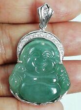 Fine Jade Silver 925 Pendant Sterling Buddha Green Bless Smile Handmade Jewelry