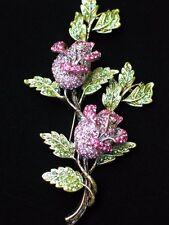 "PINK GREEN RHINESTONE GROUP LILY ROSE FLOWER BUD BUSH PIN BROOCH JEWELRY 4"" LRG"