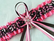 PINK Brown COWGIRL Horseshoe Print Satin Wedding GARTER Bridal PROM Boot Charm