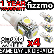 4x 501 T10 W5W CAPLESS WEDGE 5 SMD LED HID 6000K WHITE SIDE LIGHT BULBS UK