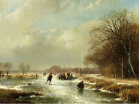 """Charming Oil painting winter snow landscape with skaters villagers no framed 36"""""""