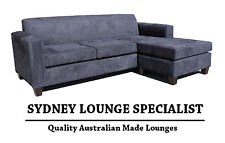 AUSTRALIAN MADE Mossvale 3 seater Chaise (Black Suede) Couch Lounge Modular