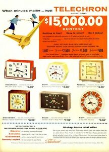 1954 Telechron PRINT AD Electric Desk Wall Clocks 6 Models Swirl Dorm Telecrat