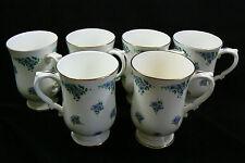 Royal Victoria made in England Bone China Blue Pansies Tea Cup Mug Set of 6