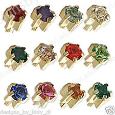 12 Pairs Of Ear Piercing Earrings 4mm Gold With Birthstone Pronged Set Gem Studs