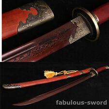 37' DAMASCUS FOLDED STEEL RED BLADE SHARP FULL TANG CHINESE PHOENIX  清刀  SWORD
