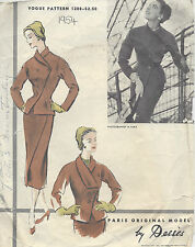 1954 Vintage VOGUE Sewing Pattern B36 SUIT-SKIRT & JACKET (R988) By 'Desses'