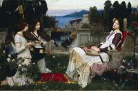 Large Waterhouse Saint Cecilia & Angel Musicians Painting Canvas Art Print