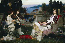 Large Waterhouse Saint Cecilia & Angel Musicians Painting Canvas Art Print