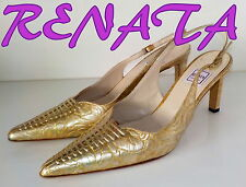 "Luxury Italian ""RENATA"" GOLD PRINT  LEATHER Slingbacks Shoes UK 7  EU 40.5  £105"