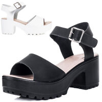 Womens Platform Chunky Sole Block Heel Sandals Shoes
