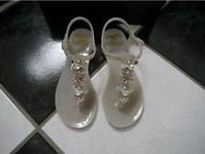 NIB 100% AUTH Chanel 16C Camellia Beige Jelly PVC Thong Sandal 35 $625