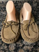 Minnetonka Brown Leather Shearling Moccasin Loafer Casual Slippers Mens 10M
