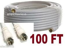 100 FT RG-6 WHITE SATELLITE COAX CABLE RG6 COAXIAL ANTENNA OTA HD TV BELL ROGERS