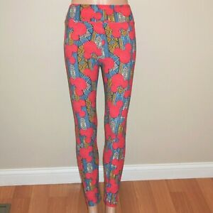 LuLaRoe Leggings Disney Mickey Mouse Pink Blue Gold Geometric OS One Size New JB