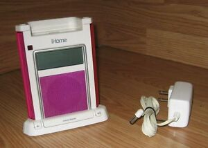 iHome (iH4P) Pink & White Digital Alarm Clock iPod Speaker Dock w/ Power Supply