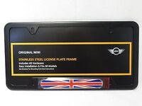 OEM Mini Cooper License Plate Frame Union Jack Matte Black 82120306811