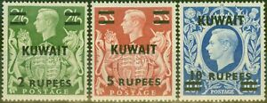 Kuwait 1948-49 set of 3 Top Values SG72-73a V.F MNH