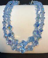 "Vintage 1950's Aurora Borealis Large Crystal Glass Bead Flower Girl Necklace 14"""