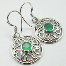 "925 Solid Silver Exclusive GREEN ONYX ART Earrings 1.3"" FACTORY DIRECT JEWELRY"