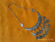 Moroccan Berber Jewelry:Stylish New-Moon Silver colour Necklace 'Coin' Drops NEW