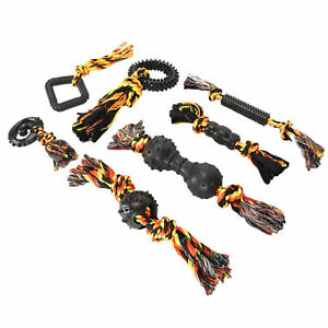 7x Dog Rope Chew Toys Kit Pet Puppy Rope Teething Bite Interactive Toy Supplies