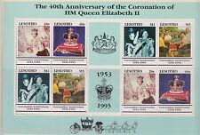 QEII QUEEN ELIZABETH II 40TH ANNIVERSARY OF CORONATION MNH STAMP SHEET LESOTHO