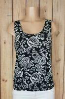CHAUS Womens Size Large Sleeveless Shirt Black/Gray Floral Print Silk Blend Top