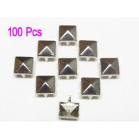 100 Pcs Leathercraft DIY Metal Punk Spikes Spots Pyramid Studs Goth-Silver AD