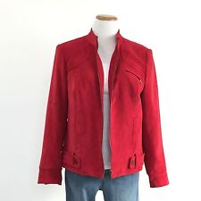 TRIBAL Sz 10 Gorgeous Red Zip Front Jacket Great Lines Classic Style Women Sz 10