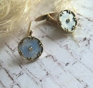 Antique Edwardian Gold 36 Blue Guillochis Enamel & Diamonds Russian Cufflinks