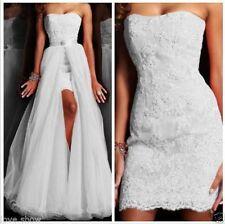 Custom Lace White Ivory Detachable Bridal Gown Wedding Dress 8-10-12-14-16-18+