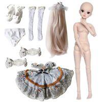 1/3 BJD Mädchen Puppe Doll Make-Up + Prinzessin Kleid + Augen + Perücke + Schuhe