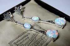 Stunning Vintage Style Sterling SILVER 925 Gilson OPAL & Marcasite Drop Earrings