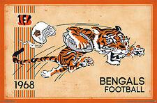 NFL Heritage Series CINCINNATI BENGALS 1968-Style Tiger Mascot Logo Wall POSTER