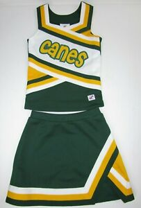 "Girls Hurricanes Cheerleader Uniform Outfit Costume 28"" Chest Elastic Skirt Flaw"