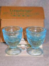 "Longaberger Set 2 Glass Egg Cups 2002 Easter Robin Egg Blue 2.75"" #90078 Usa Nib"