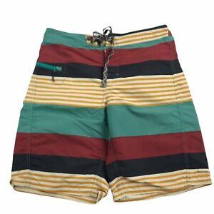 Patagonia Yellow Green Red Striped Swim Trunks Shorts Men's Size 31 3094