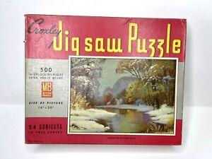 Vintage Milton Bradley Croxley Jigsaw Puzzle 500 Pieces 4611-A Winter scene