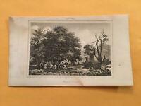 K4) 1837 Etats-Unis D'Amerique Indian Tribal Council Original Engraving