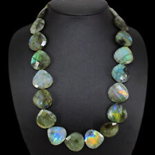 FINEST EVER 715.00 CTS EARTH MINED RICH LABRADORITE PEAR FACETED BEADS NECKLACE
