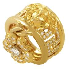 Versace Diamond Gold Medusa Band Ring with Flower Charm - HM1678