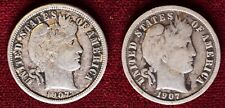 New listing Lot of 2 Barber Dimes - 1907 & 1907-S - 10c Silver