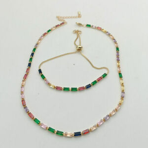 gold plated  rainbow rectangle Cubic Zirconia micro pave bracelet&necklace