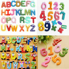 Funky Fun Colourful Fridge Magnet Toys Wooden Magnetic Numbers Alphabet Letters