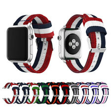 Woven Nylon Stripe iWatch Band Strap fr Apple Watch Series 5 4 3 2 38/40/42/44mm