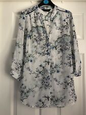 Dorothy Perkins White Patterned Sheer Blouse Top Size 8