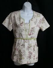 Baby Phat Womens Size Small Light Beige Floral Scrub Top Tie Back Green Trim