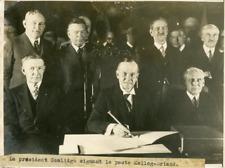 Washington, le président Coolidge signe le pacte Kellogg-Briand Vintage silver p