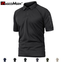 Men's Polo Hunting Short Sleeve Shirts Tactical Army Zipper Pockets T-Shirt Tops